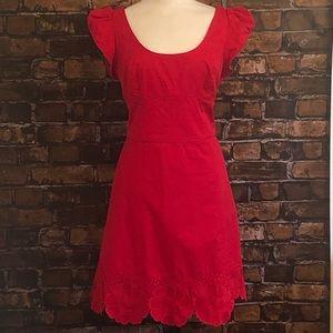 Badgley Mischka Red Embroidered Dress